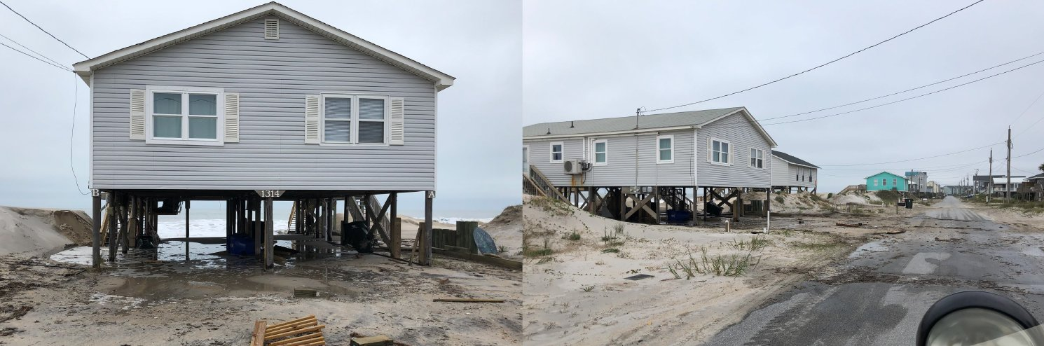 Photos provided by Surf City Emergency Management show the ocean scouring sand from beneath homes along North Shore Drive on Sunday November 17, 2019.