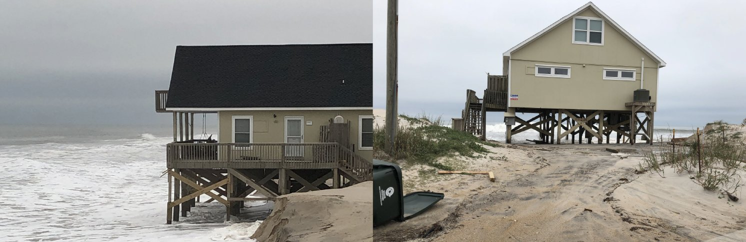 Coastal Flooding and beach erosion in Surf City, NC during a strong non-tropical storm on November 16-17