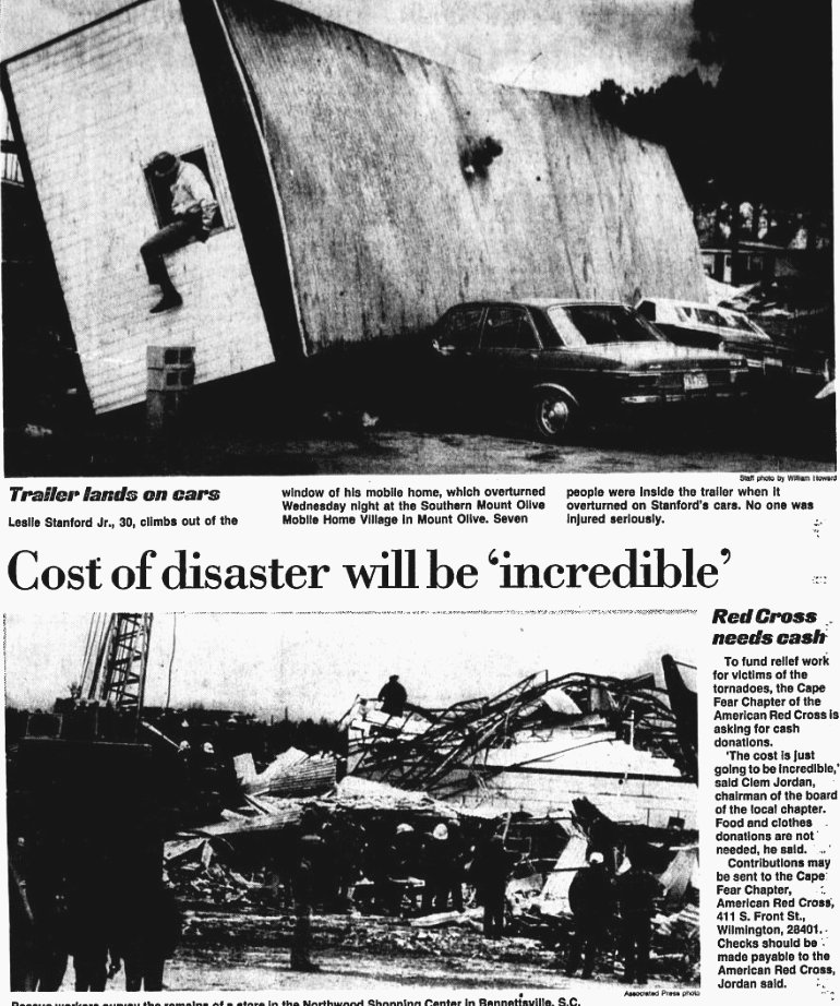 Newspaper article of the damage from the Tornadoes