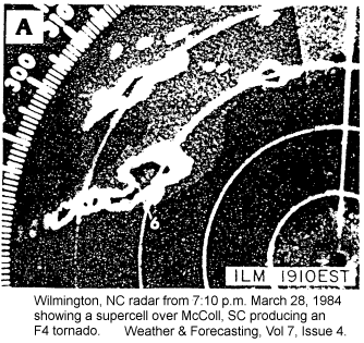 ILM radar image of the McColl F4 Tornado on March 28, 1984