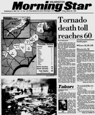 Newspaper story about the Carolinas Tornado Outbreak of March 28, 1984