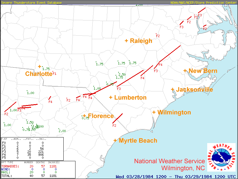 Carolinas Tornado Outbreak: March 28, 1984 on map of raleigh nc, map of biltmore forest nc, map of charlottesville nc, map of griffin nc, map of hog island nc, map of asheville nc, map of ogden nc, map of clarksville nc, map of columbus ga, map of orange co nc, map of saxapahaw nc, map of atlanta, map of charlotte nc, map of moyock nc, map of salemburg nc, map of greenville nc, map of ferguson nc, map of bunnlevel nc, map of north carolina, map of memphis tn,