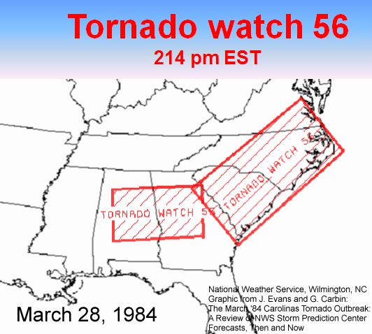 Graphic of the Tornado Watch