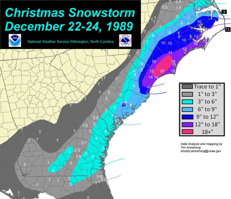 Snowfall accumulations from the Historic Christmas Snowstorm of December 22-24, 1989, affecting portions of Eastern North and South Carolina, Georgia, and Florida.