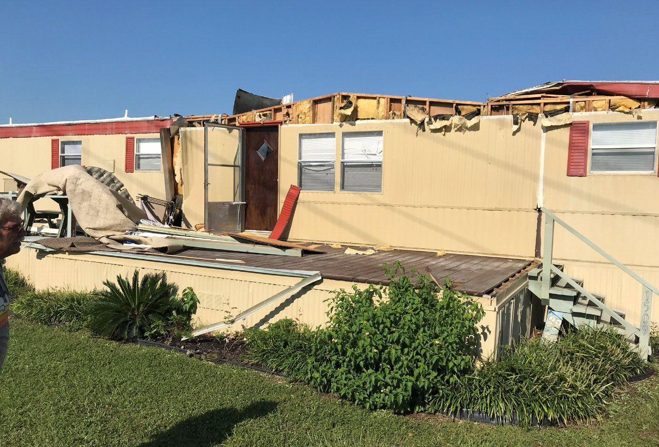 Tornado damage occurred to at least eight trailers at the Waterway View Mobile Home Park in North Myrtle Beach.
