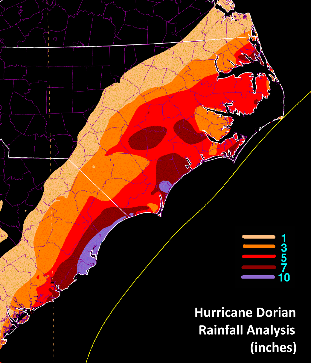 WPC rainfall graphic of Hurricane Dorian