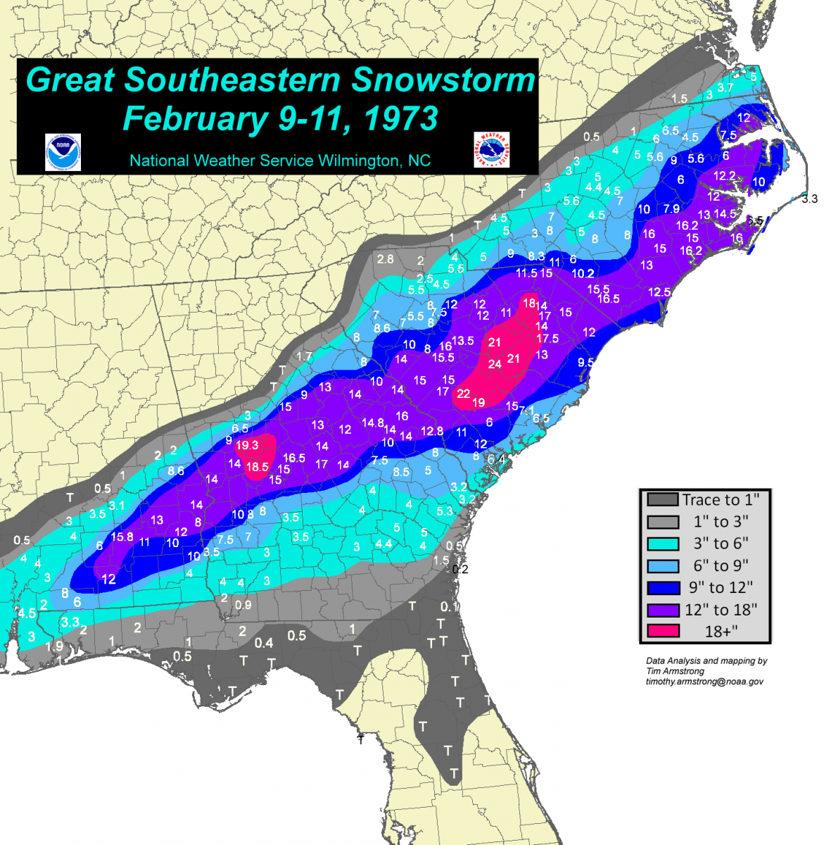 Snow Storm Weather Map.The Great Southeastern Snowstorm February 9 11 1973