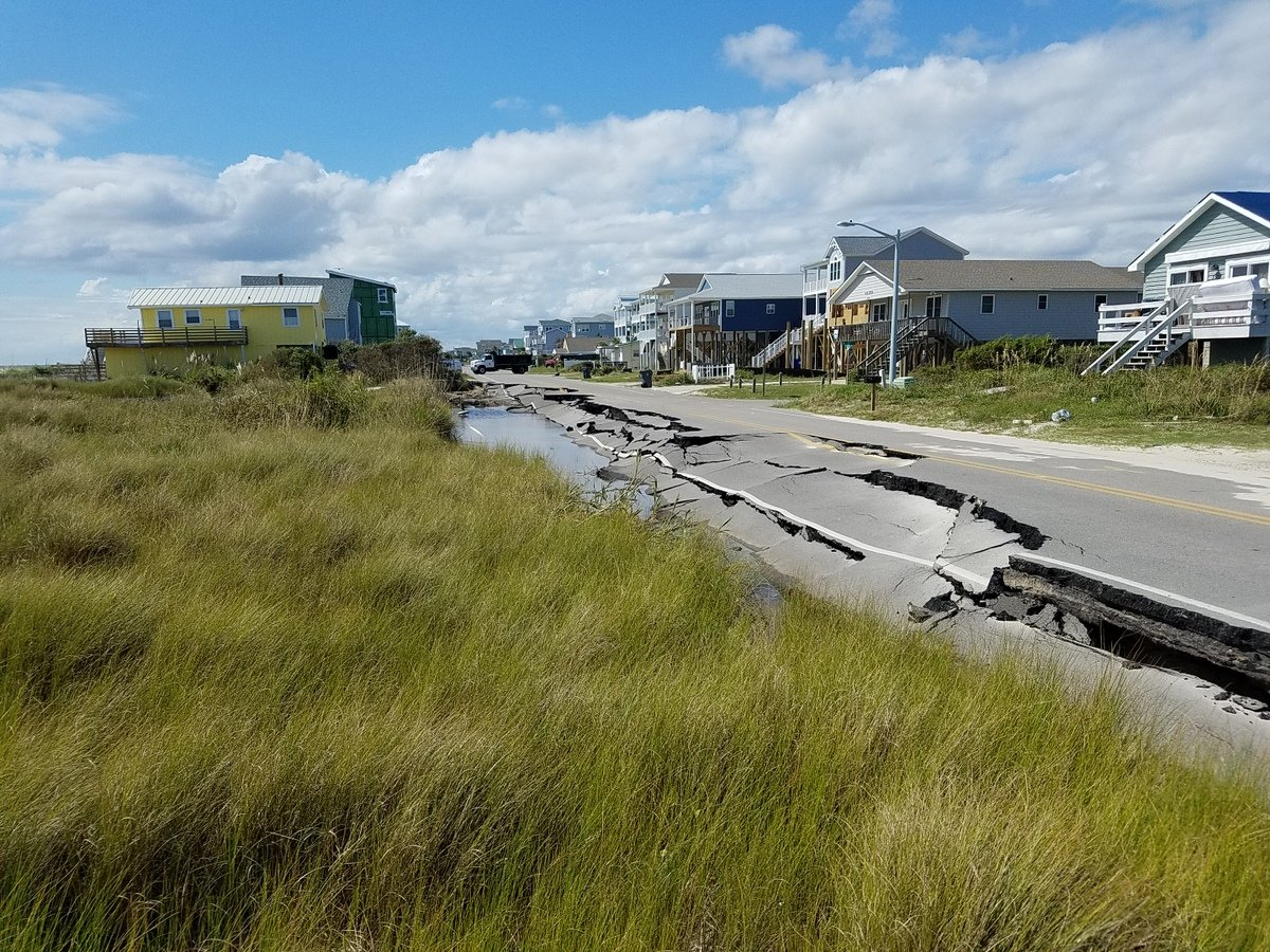 Another view of the damage to East Beach Drive on Oak Island. (Photo credit: NWS)