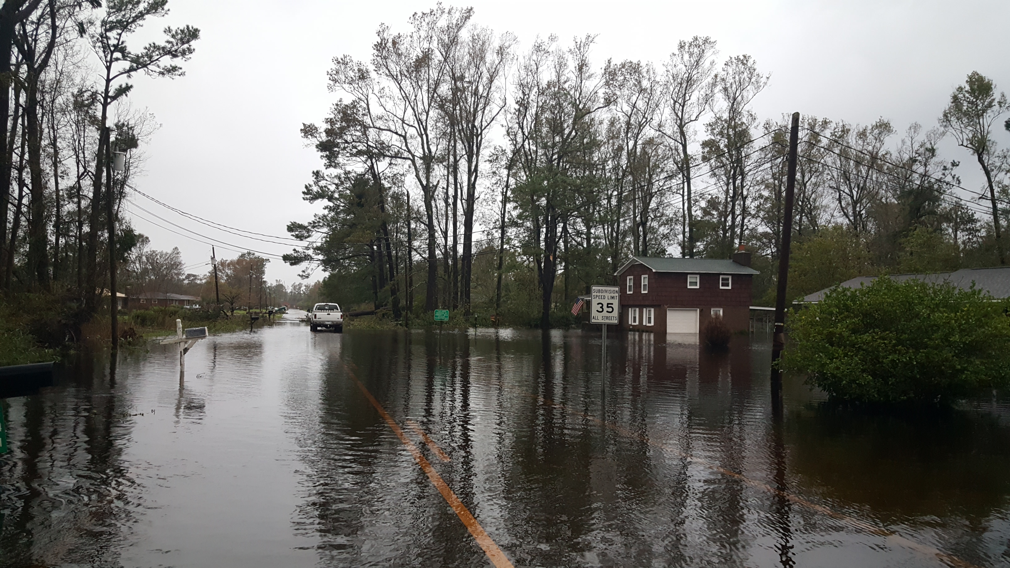 Flooding affected Heritage Park Drive off Blue Clay Road near the ILM Airport for days after Hurricane Florence. (Photo credit: Vicky Oliva/NWS)