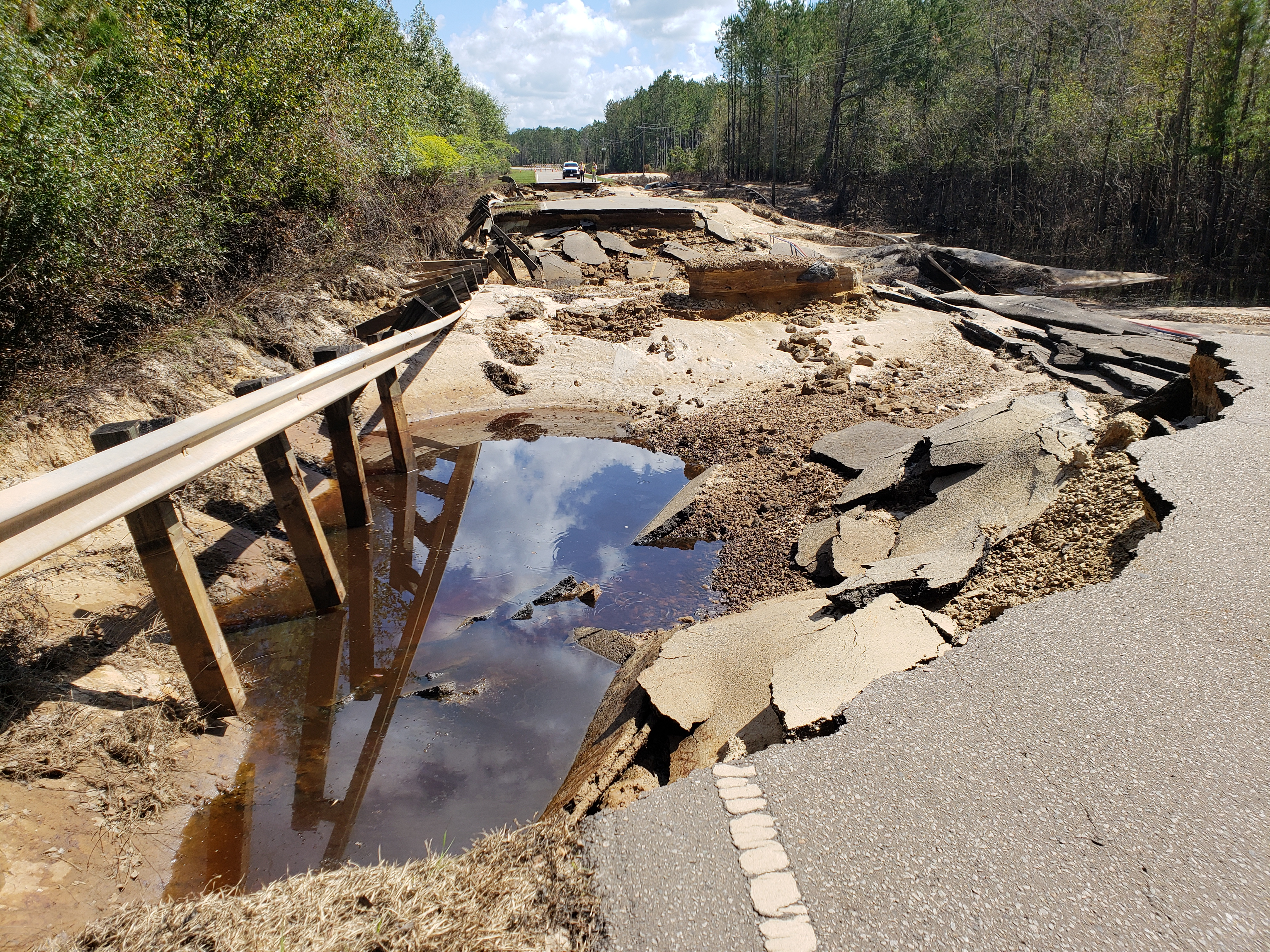 Washout on NC Highway 210 at Moore's Creek