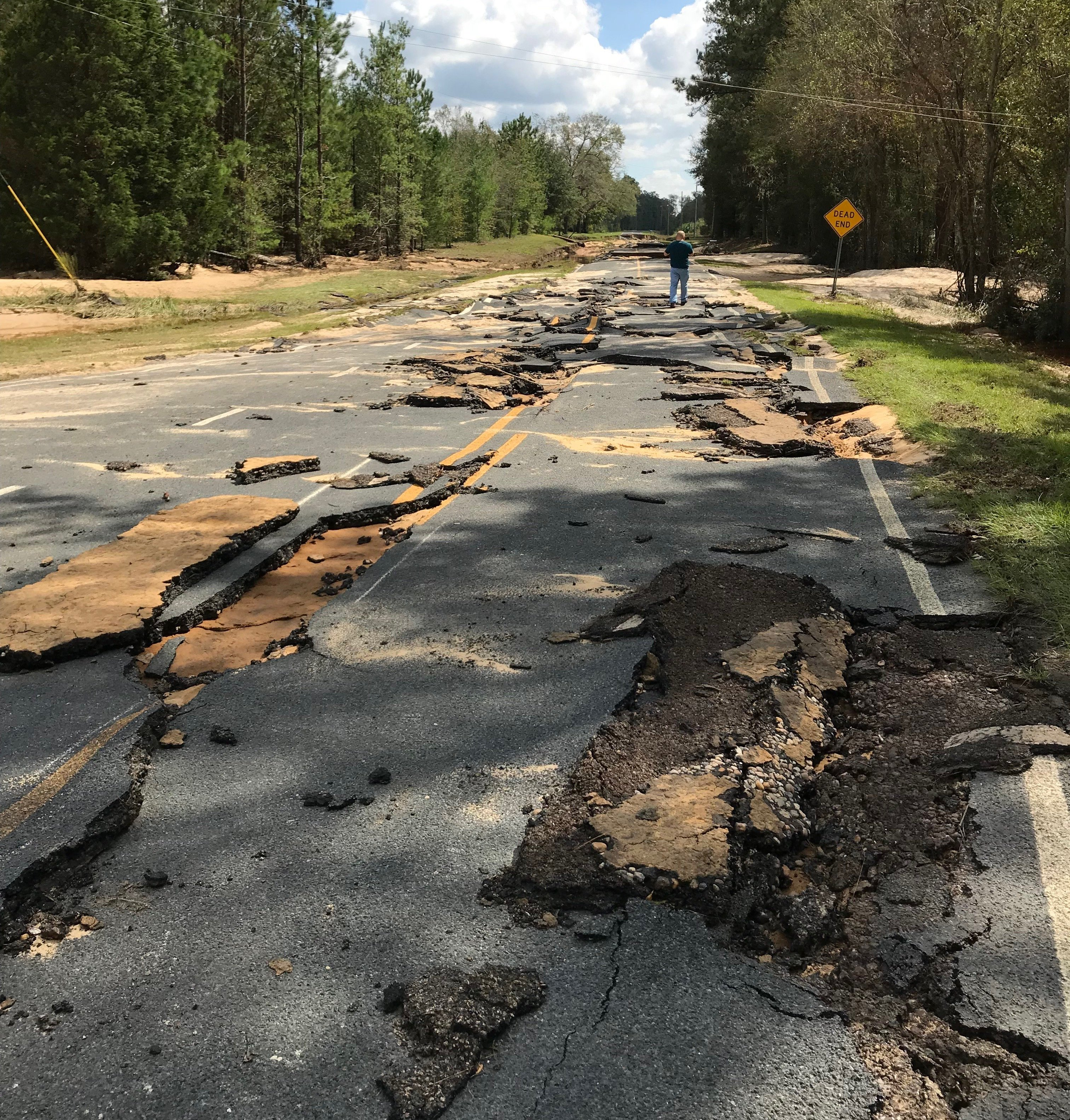 Cassius Smith Road washed out in Bladen County from severe flooding near the Cape Fear River