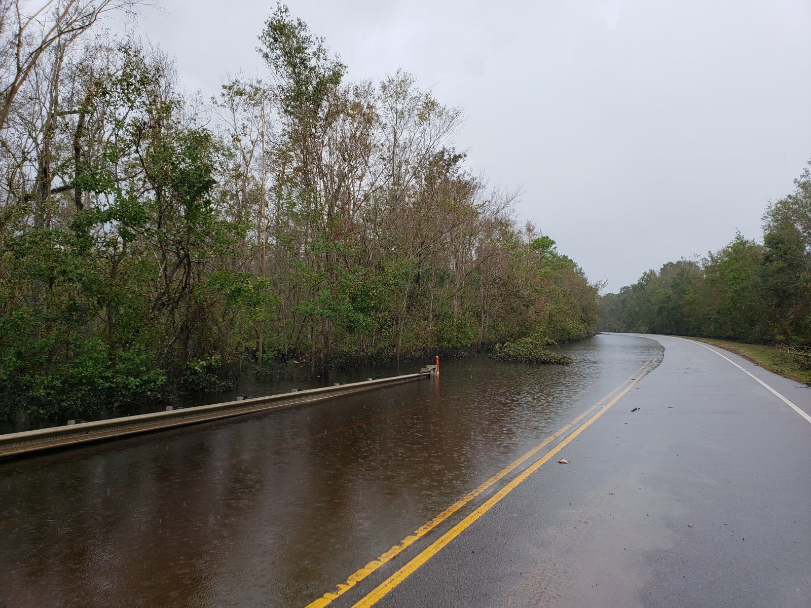 Flooding from the Northeast Cape Fear River along Castle Hayne Road just north of the Pender/New Hanover County line
