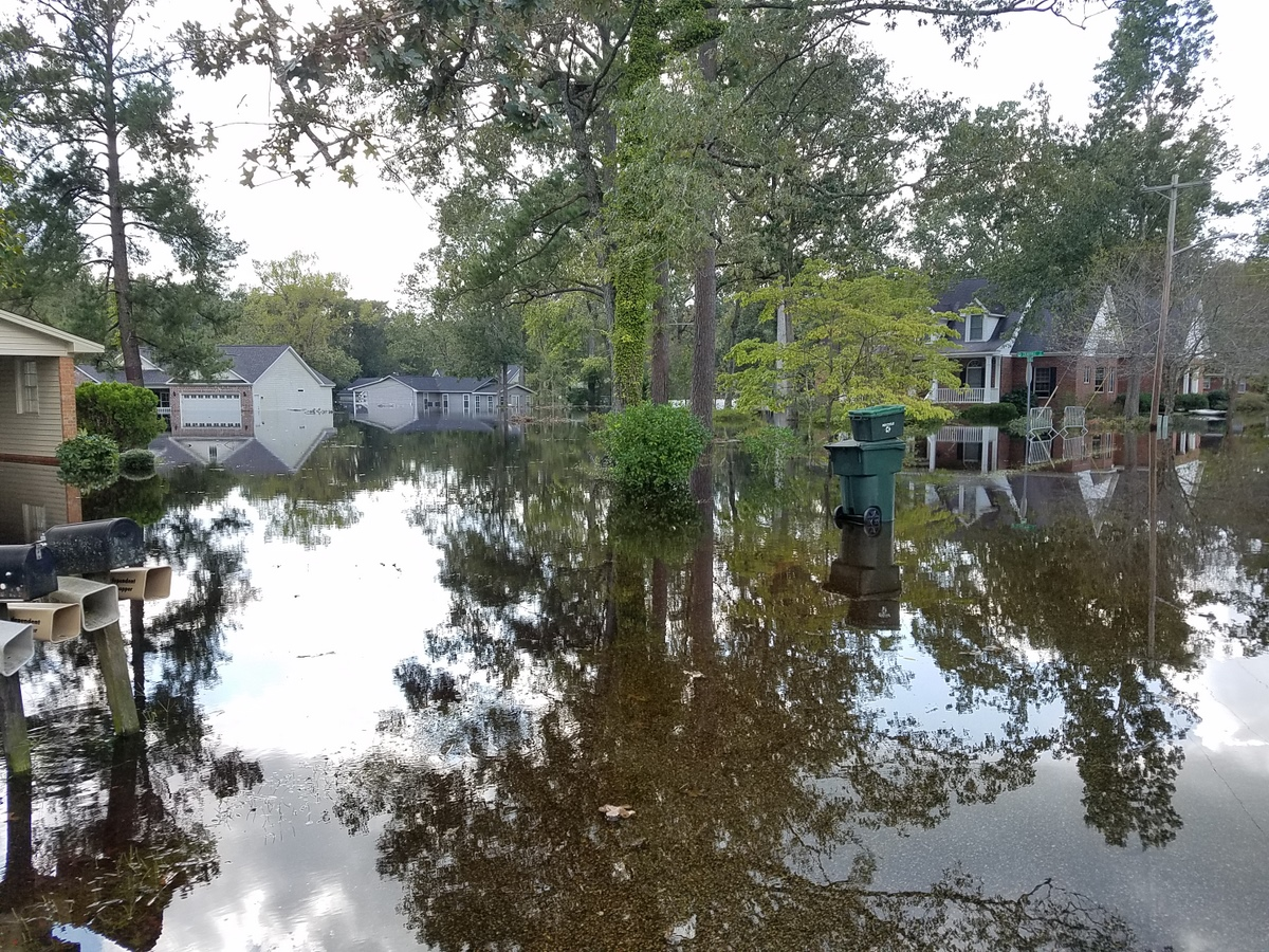 Flooding on Crescent Drive in Conway from nearby Crab Tree Swamp. (Photo credit: Jonathan Lamb/NWS)