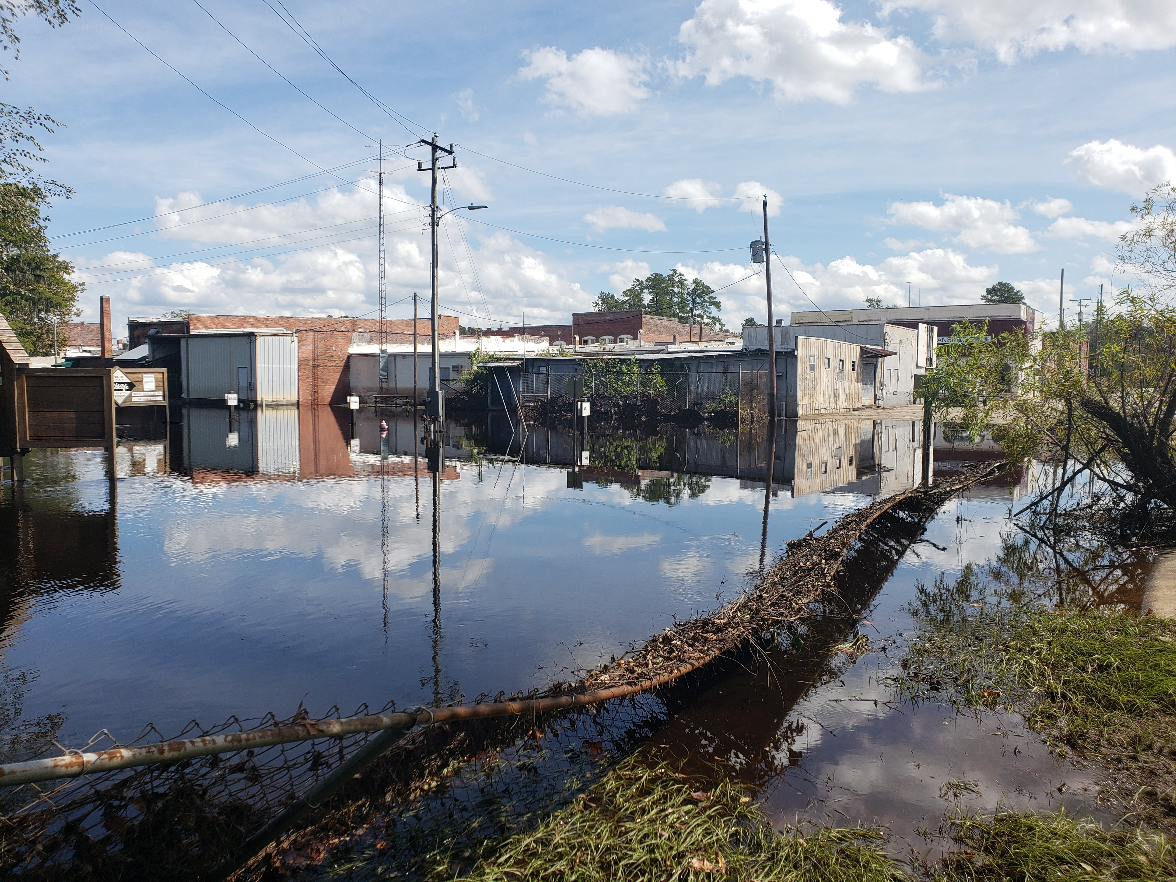 Still recovering from severe flooding suffered during Hurricane Matthew just two years earlier, Hurricane Florence brought more devastating flooding to downtown Fair Bluff.  Water several feet deep destroyed many businesses.