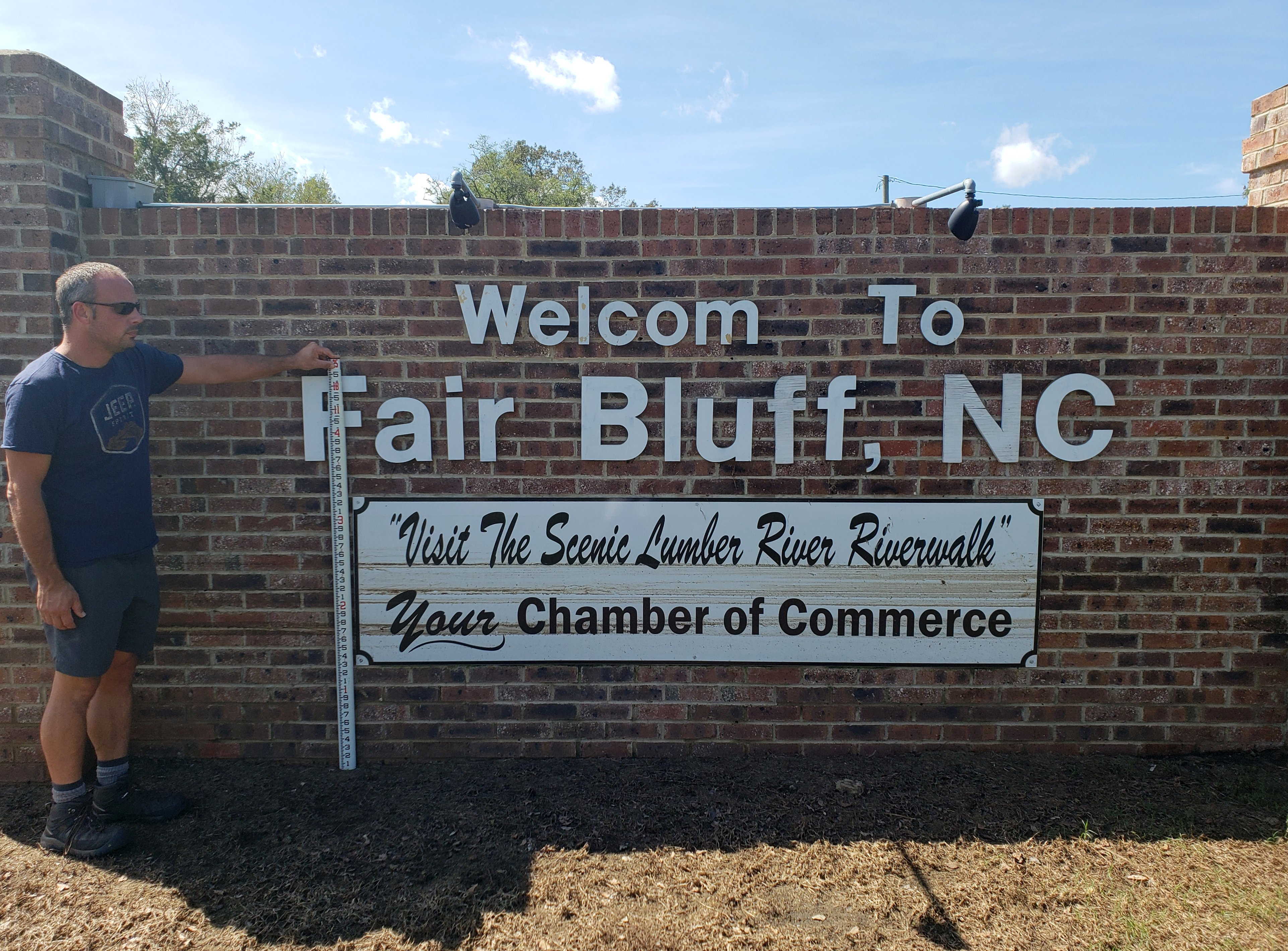 Our survey crew found a high water mark 2.5 feet above ground level on the welcome sign to Fair Bluff.