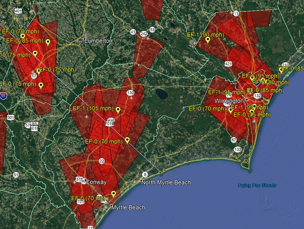 Map of confirmed tornado touchdowns across the NWS ILM forecast area during Hurricane Florence