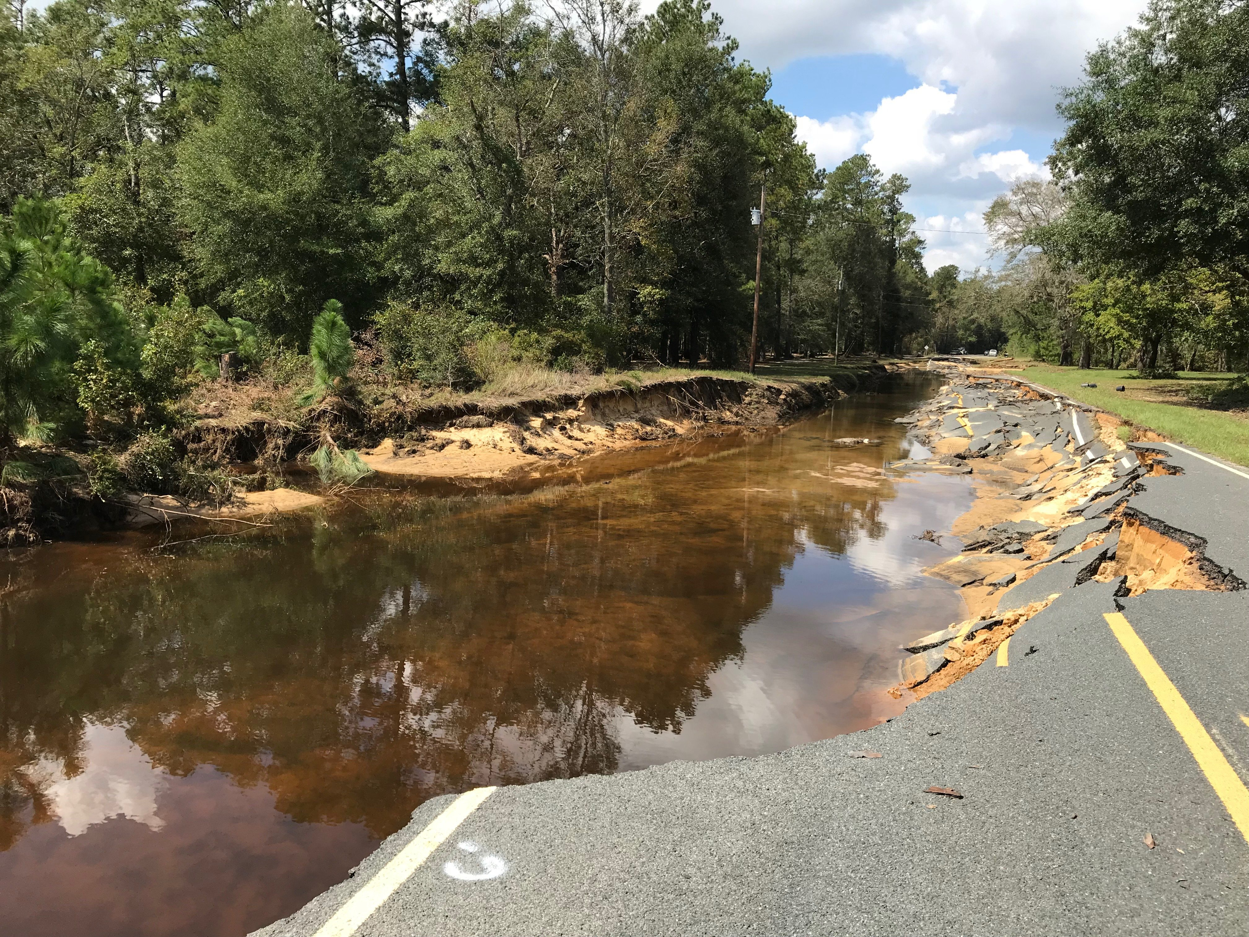 Many roads were damaged or washed away from record flooding along the Cape Fear River, such as this one near White Oak Road in Bladen County