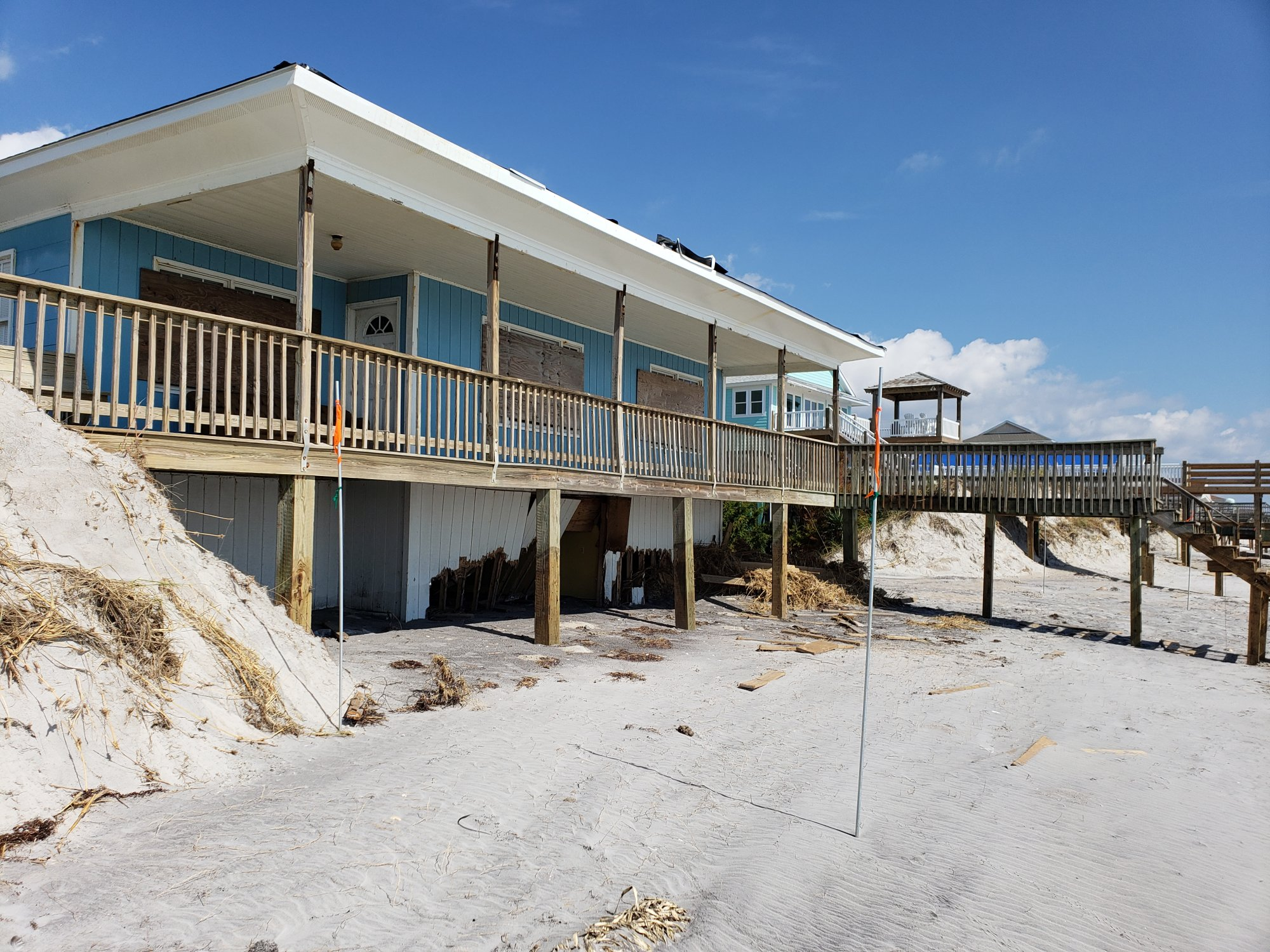 The storm surge destroyed the lower floor of this Surf City beach home. (Photo credit: Carl Morgan/NWS)