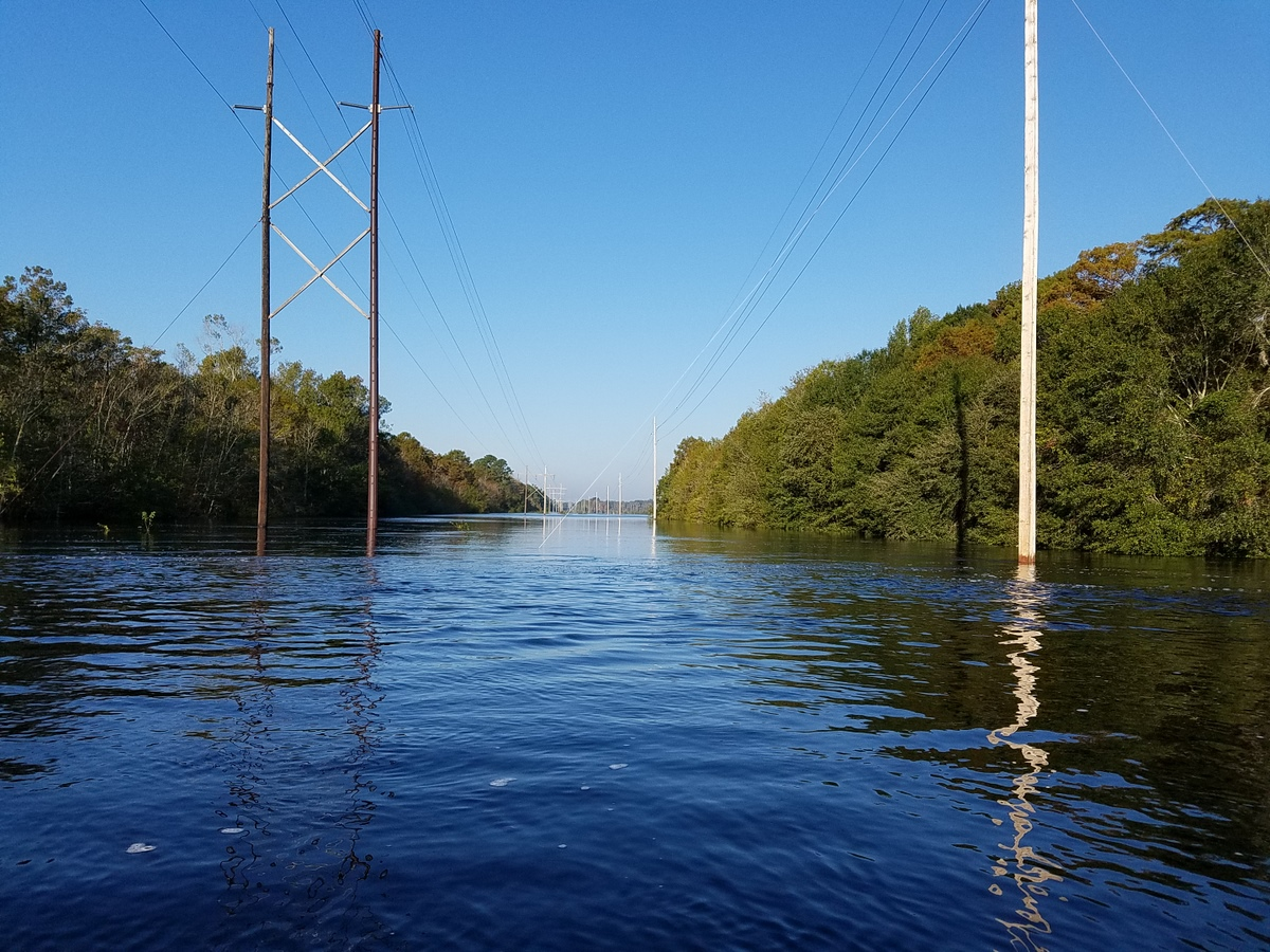 A flooded power line corridor near Waccamaw Drive. (Photo credit: Jonathan Lamb/NWS)