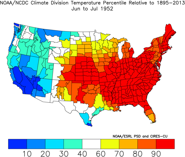 Climate Division Temperature Percentile Rankings for June-July 1952