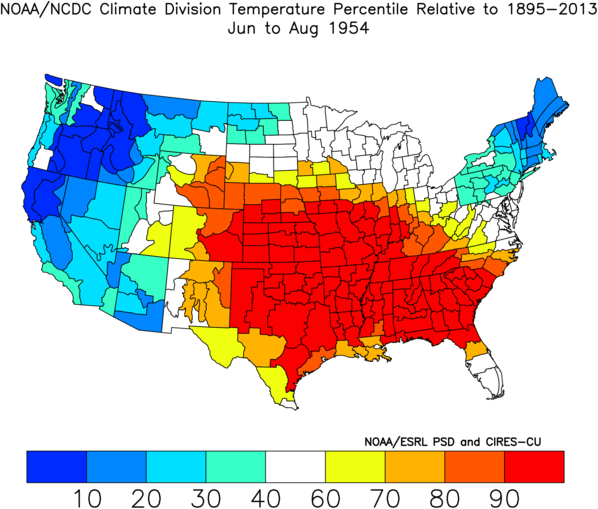 Climate Division Temperature Percentile: June-August 1954