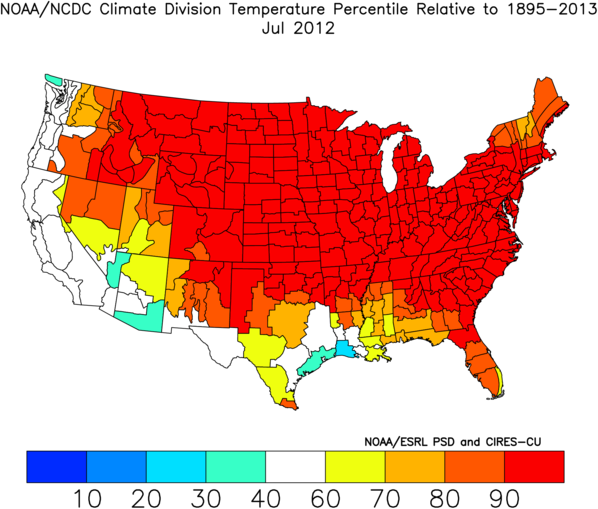 Climate Division Temperature Percentile Rankings: June-July 2012