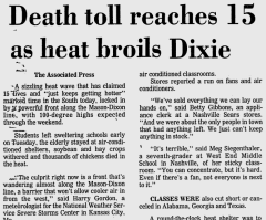 Death toll reaches 15 as heat broils Dixie