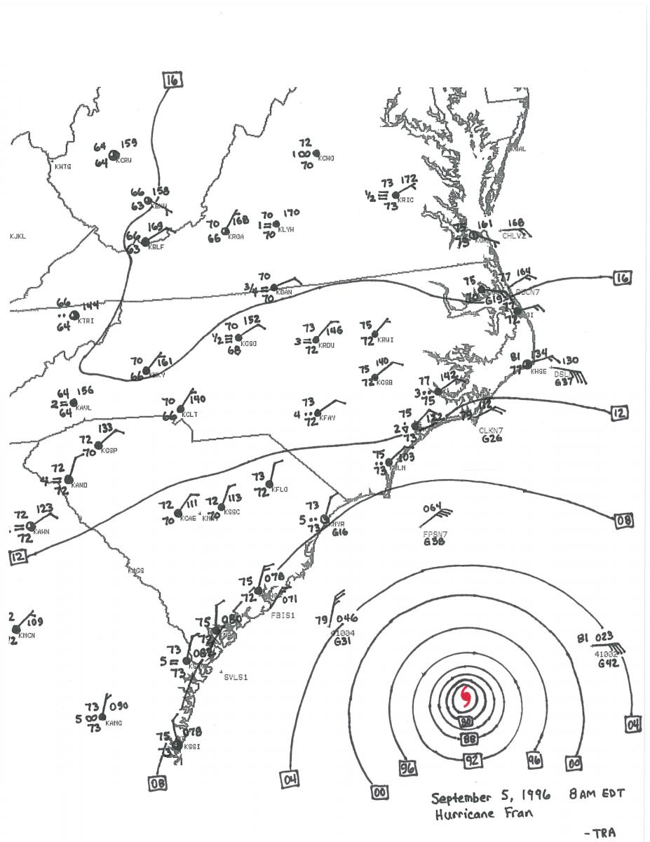 hurricane fran september 5 1996 Home Wiring Diagram sep 5 8 am edt