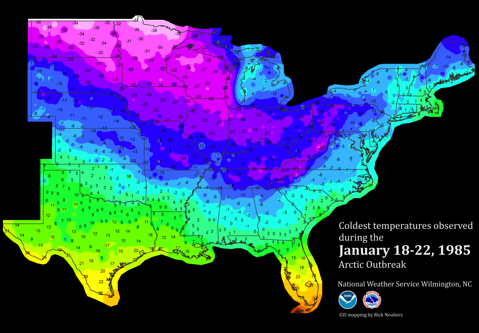 January Recordbreaking Cold - Weather across the us map