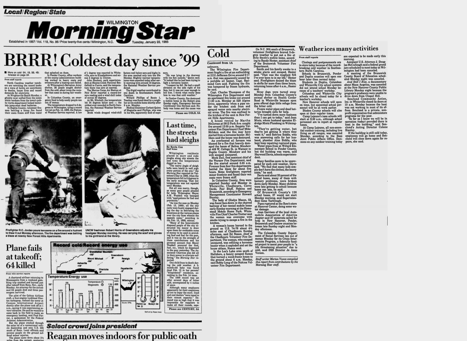 january 1985 record breaking cold
