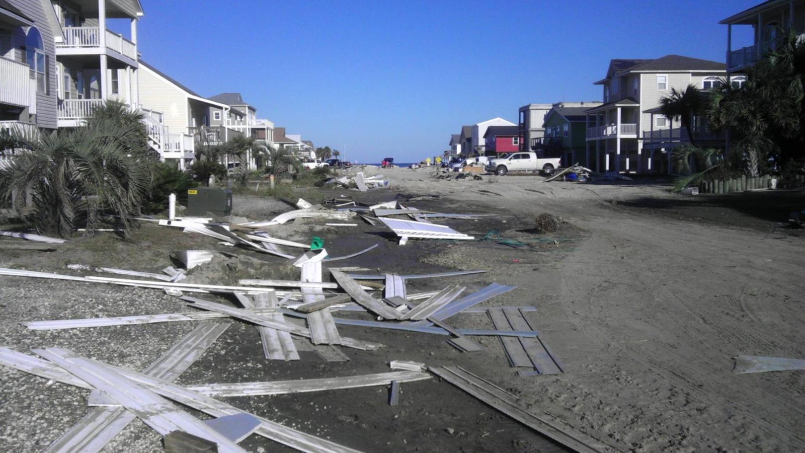 More damage from Hurricane Matthew's wind and storm surge in Ocean Isle Beach, NC