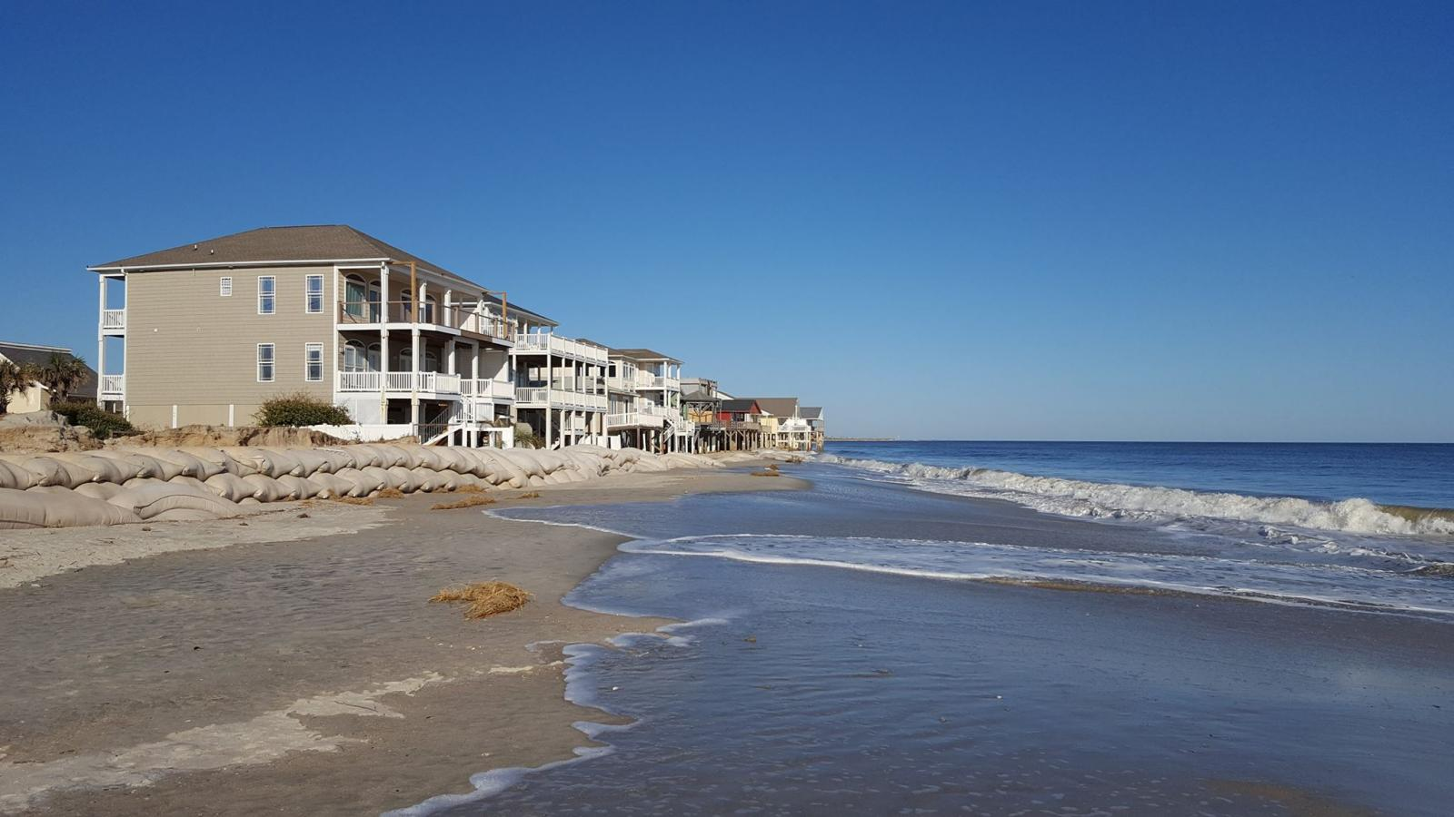 Hurricane Matthew accelerated ongoing beach erosion along the eastern end of Oak Island, NC.  In the past there were two additional rows of streets and beach houses at this location; Hurricane Hazel (1954) destroyed the first row and Hurricane Hugo (1989) destroyed the second.
