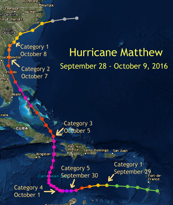 Hurricane Matthew in the Carolinas October 8 2016