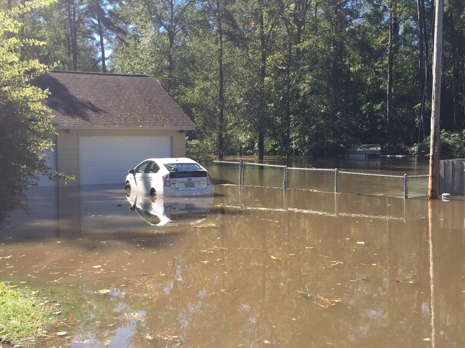 Neighborhoods were flooded along Old Goat Road near Lumberton, NC.