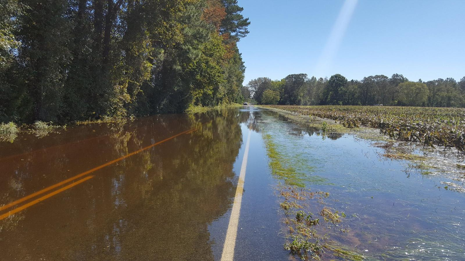 Hurricane Matthew's floodwater covers Owen Hill Road east of the town of Dublin in western Bladen County, NC