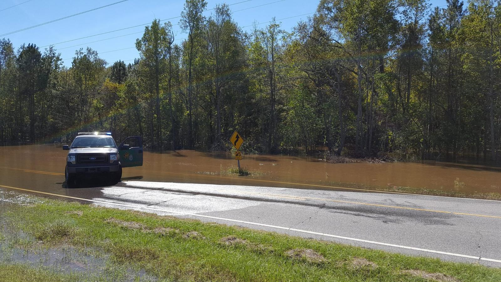 River Road east of the Cape Fear River in western Bladen County, NC was closed due to Hurricane Matthew's flooding