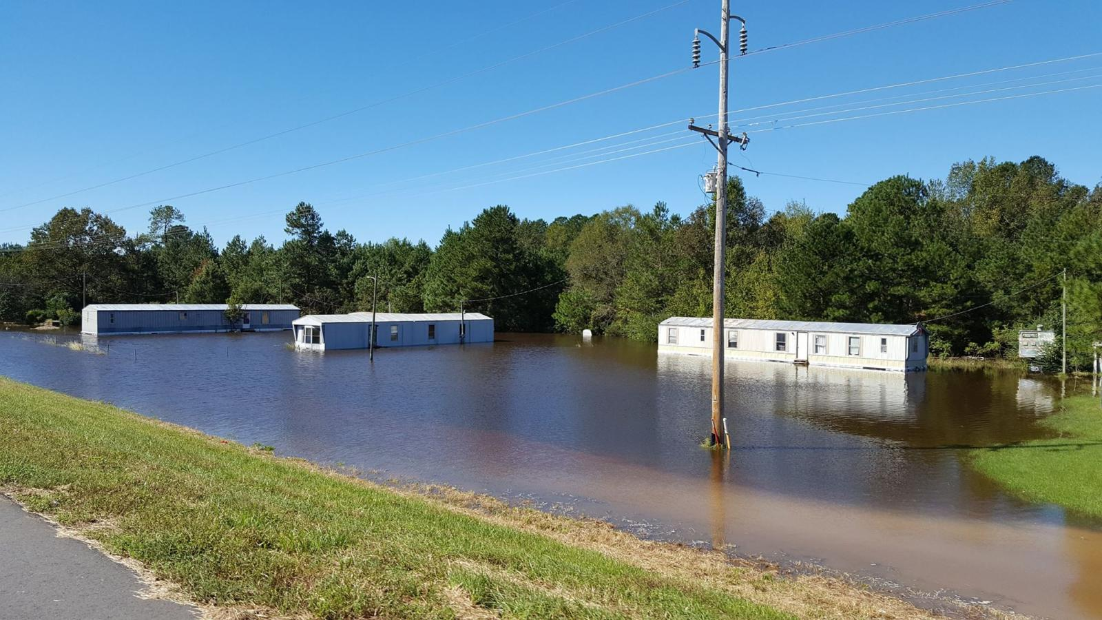 Flooding in western Bladen County, NC along Tar Heel Ferry Road, east of the Cape Fear River.