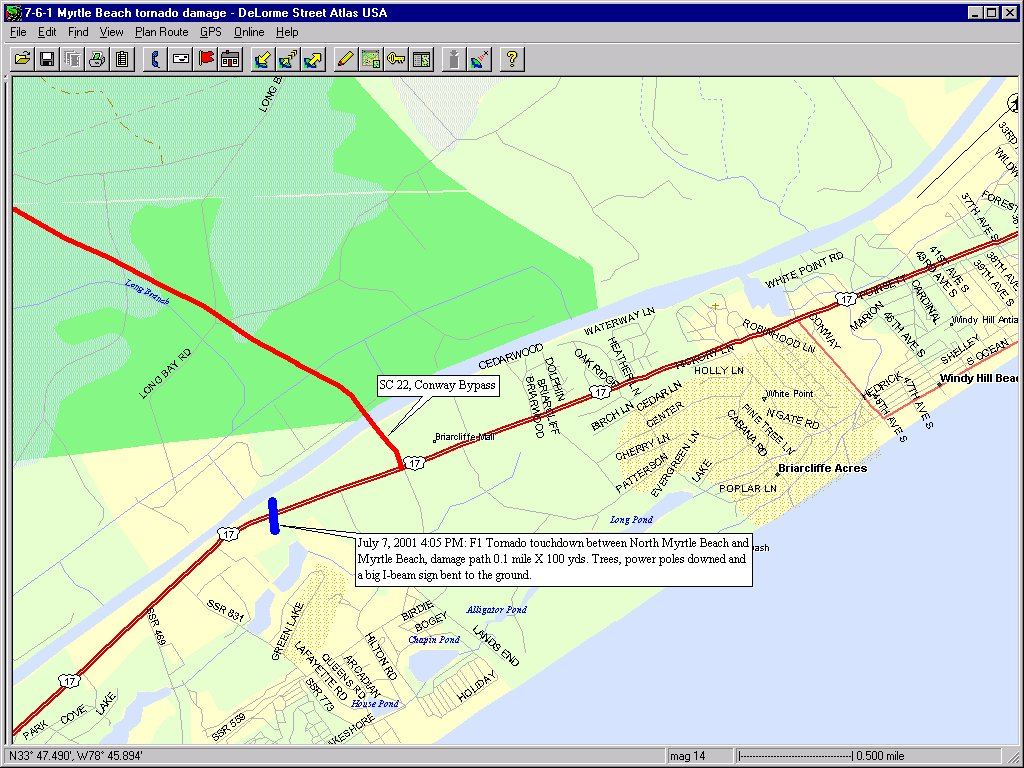 Myrtle Beach Tornadoes: July 6, 2001 -- Track ysis on georgetown county sc map, charleston map, st. augustine map, ocean isle beach nc map, surfside beach sc map, galivants ferry map, united states map, alabama gulf coast shores map, grand strand map, horry county map, mrytle beach on map, south carolina map, hilton head map, north carolina map, hartsville sc on the map, sc area map, isle of palms on map, mortal beach sc map, st. petersburg-clearwater map, savannah map,