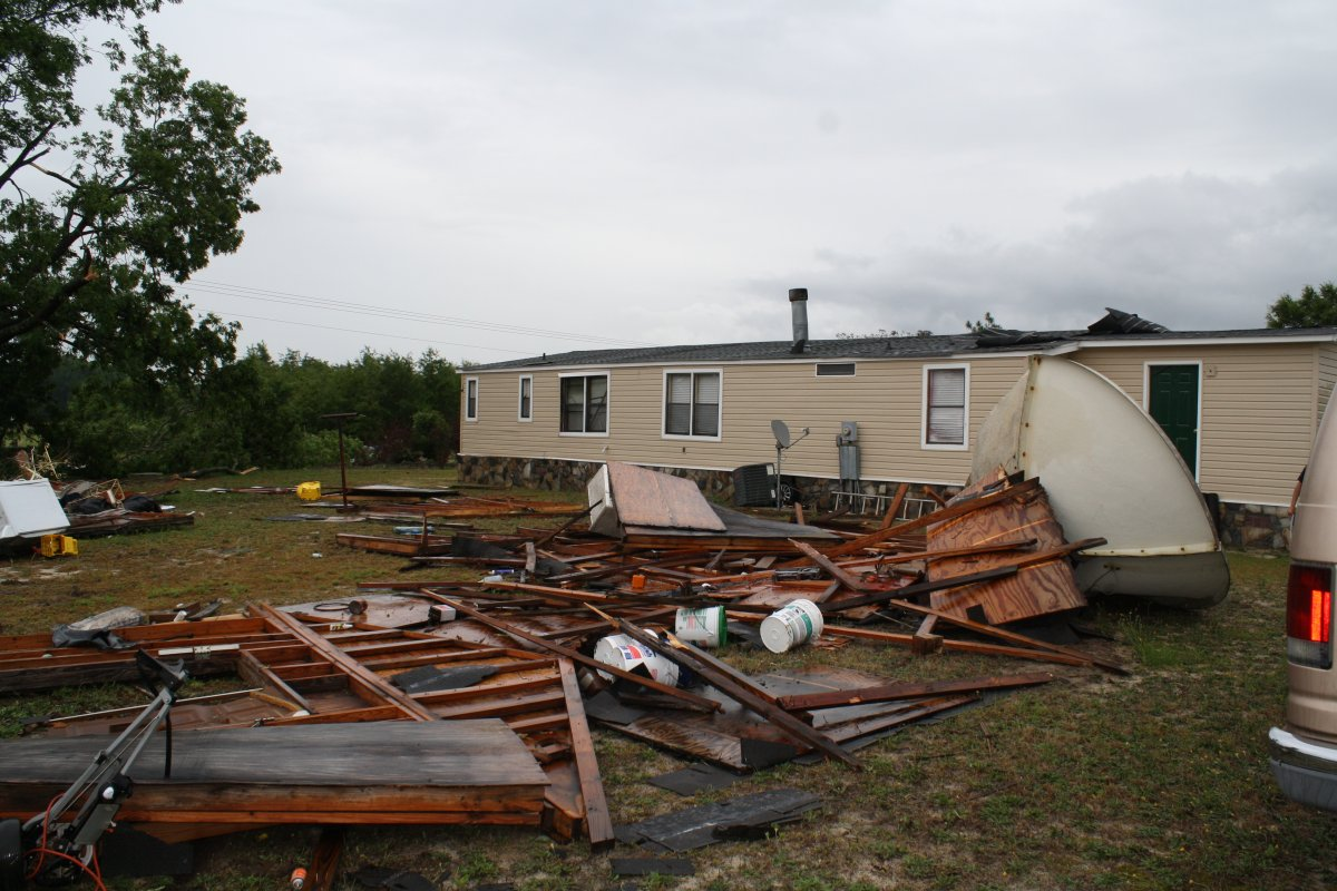 Damage to a mobile home and a shed.  Picture credit: Robeson County Emergency Management Agency