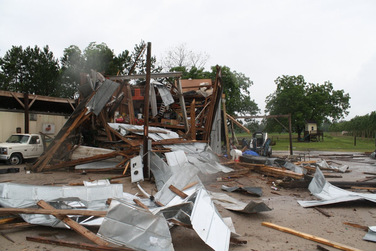 Damage to a storage building