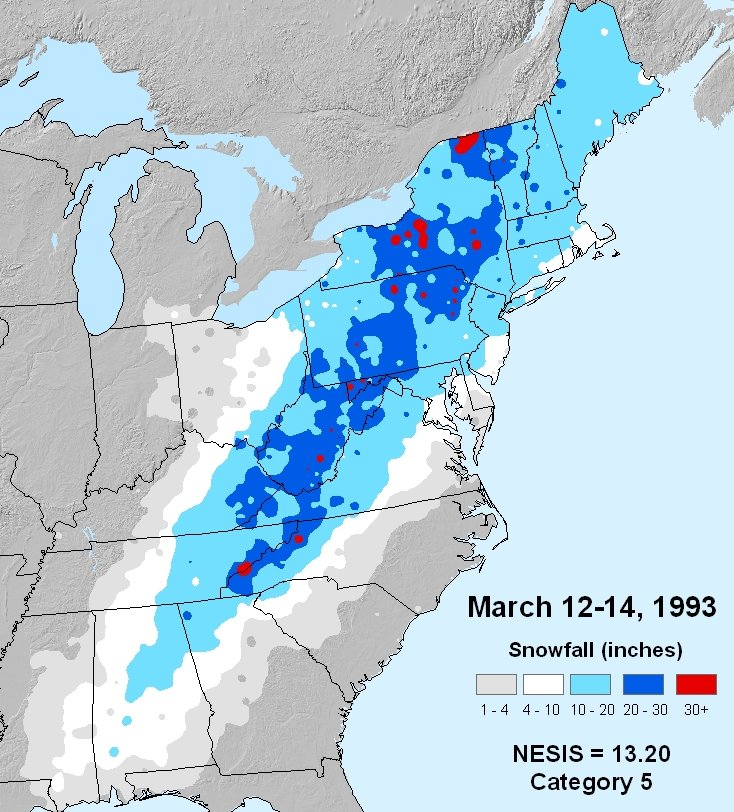 Superstorm Of Storm Of The Century - Us fronts map before ice storm