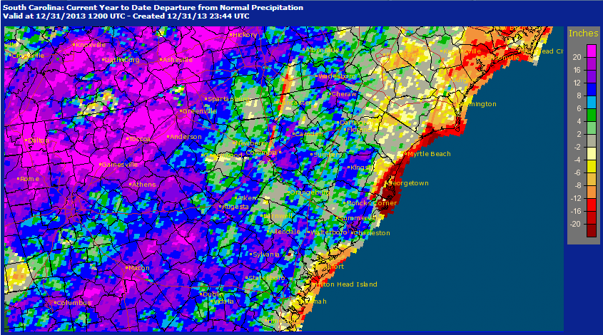 2013 Radar Rainfall, Departure from Normal