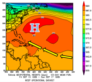 Mean 500 mb heights across the Atlantic from September 15-17, 1989.  Produced on www.esrl.noaa.gov/psd