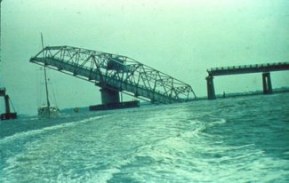 Ben Sawyer Bridge damaged after Hurricane Hugo. Credit NOAA/NWS Charleston.