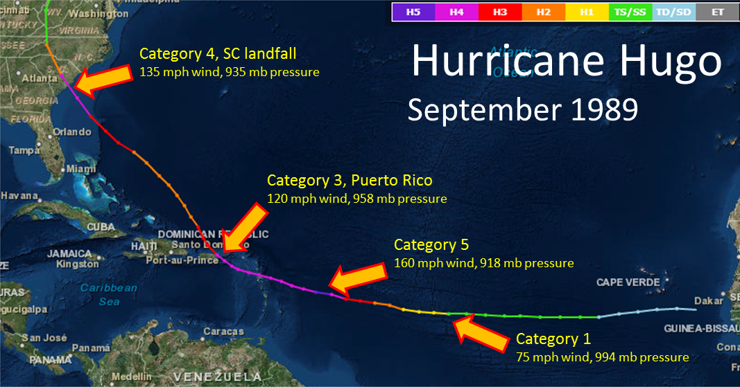 hurricane hugo At 9 am eastern daylight time on monday, september 18, 1989, the eye of hugo, the north caribbean's strongest hurricane (a category four on a scale of five) in a decade, struck the.