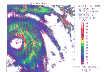 NWS Wilmington radar image of Hurricane Hugo at 0514 UTC on September 22, 1989