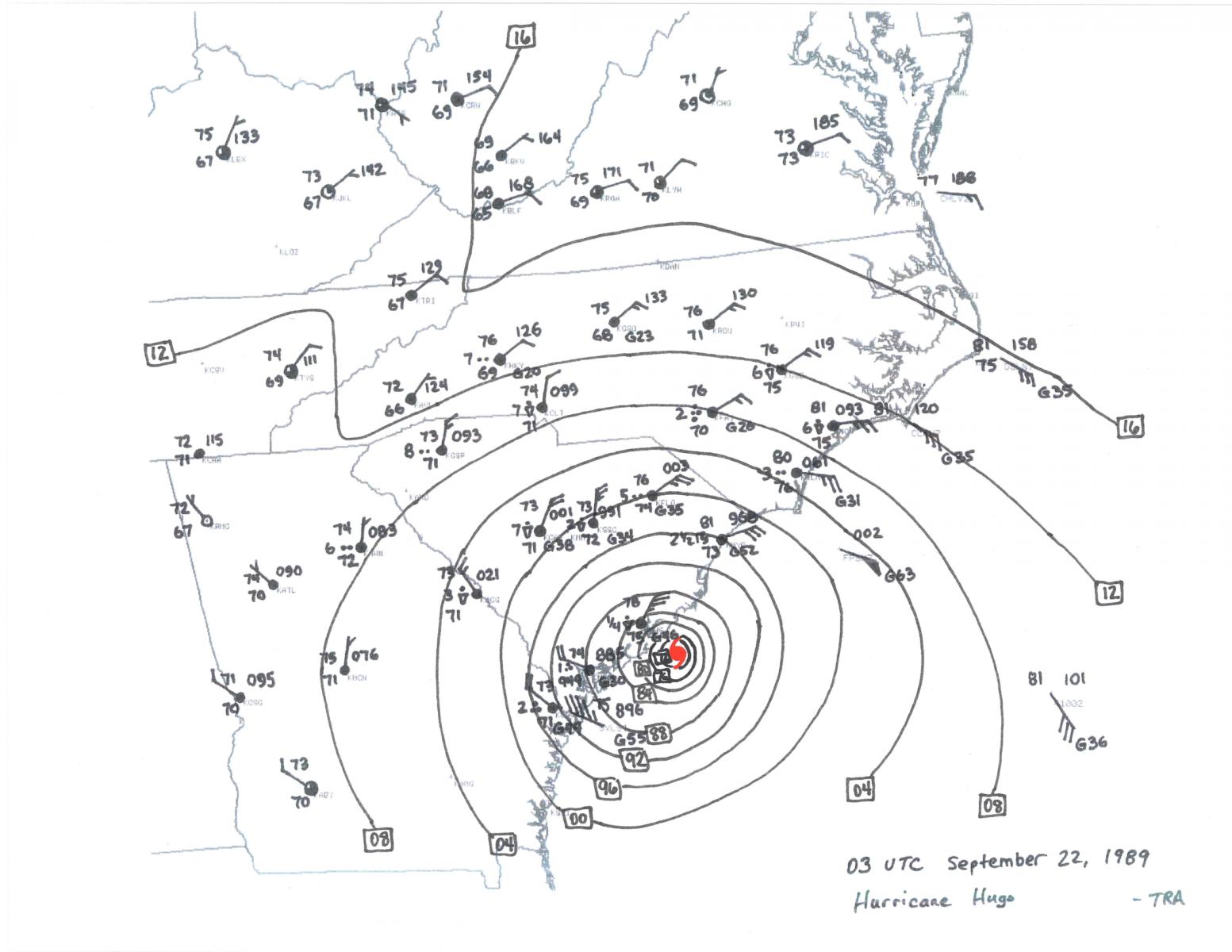 hurricane hugo 3.8 Liter Dodge Engine Diagram sep 22 03z surface map