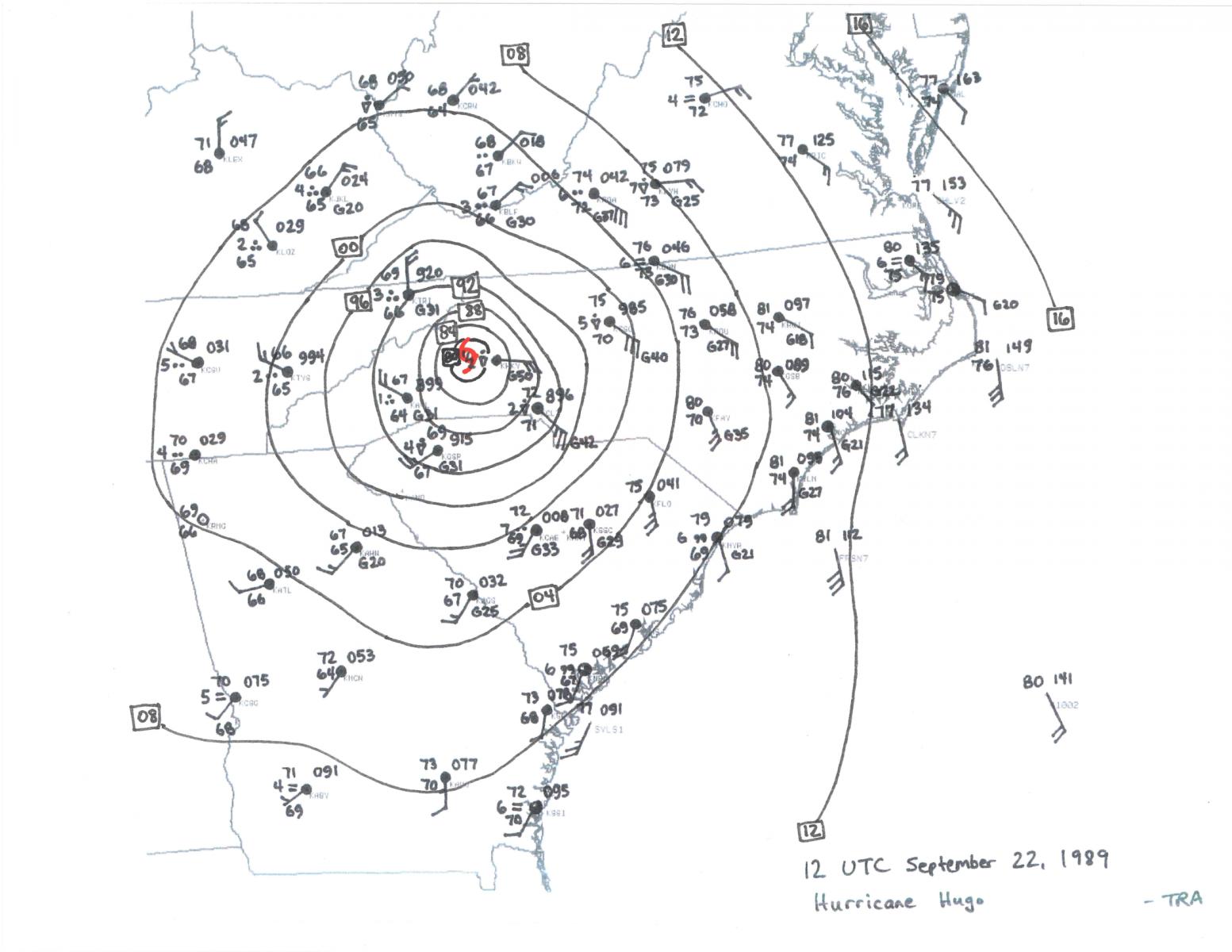 hurricane hugo Home Wiring Diagram sep 22 12z surface map