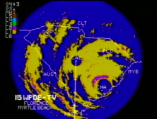 NWS Columbia radar image of Hurricane Hugo from 0430 UTC on September 22, 1989