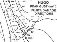 Hurricane Hugo's wind swath